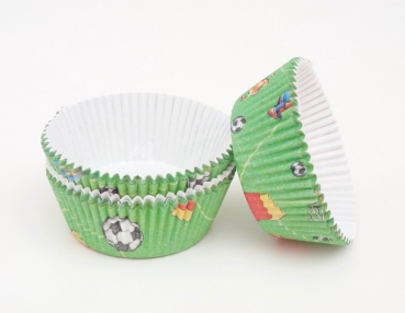 Cupcakes paper cup 60 pieces, green - soccer at sweetART