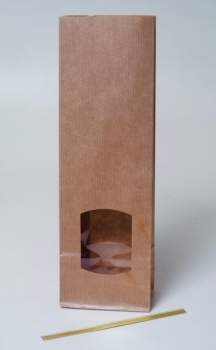 Pastry bag with window, brown, 320 x 105 x 65 mm at sweetART