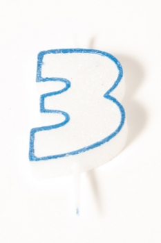 Number Glitter Candle, Blue No. 3 at sweetART