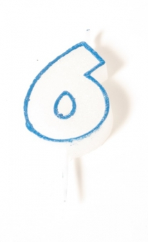 Number Glitter Candle, Blue No. 6 at sweetART