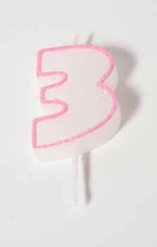 Number Glitter Candle, pink 3 at sweetART