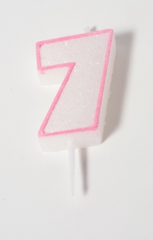 Number Glitter Candle, pink 7 at sweetART