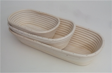 Bread dough improving basket oval 3 set rattan at sweetART