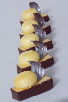 Small chocolate pastry at the sweetART Course