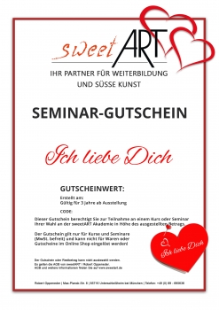 "Pastry seminar gift voucher ""I Love You"" at sweetART"