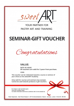 "Pastry seminar gift voucher ""Congratulations"" at sweetART -1"