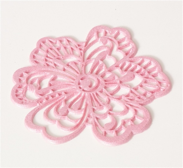 Sweet lace decor flower pink, already baked at sweetART