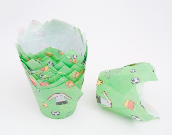 Muffin Tulip paper cup 24 pieces, green - soccer at sweetART