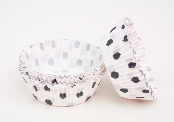 Cupcakes paper cup 60 pieces, white / black pointed at sweetART