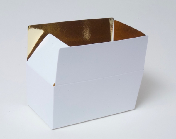 Chocolate - praline box white with golden inside at sweetART