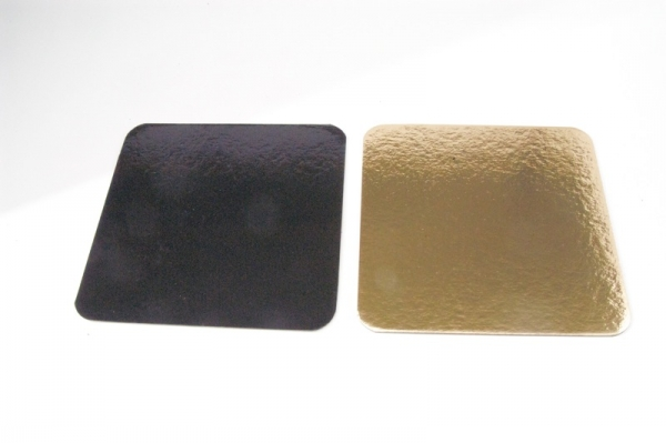 Gold / Black cake discs 32 cm 10 pieces Square at sweetART