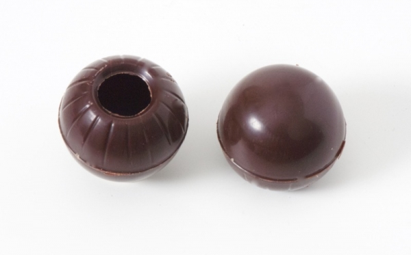 3 set - mini chocolate hollow shells dark - praline shells at sweetART -1