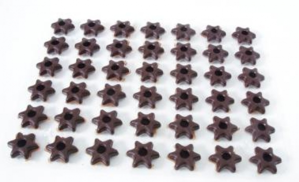 42 pcs. dark chocolate star hollow shells at sweetART -1