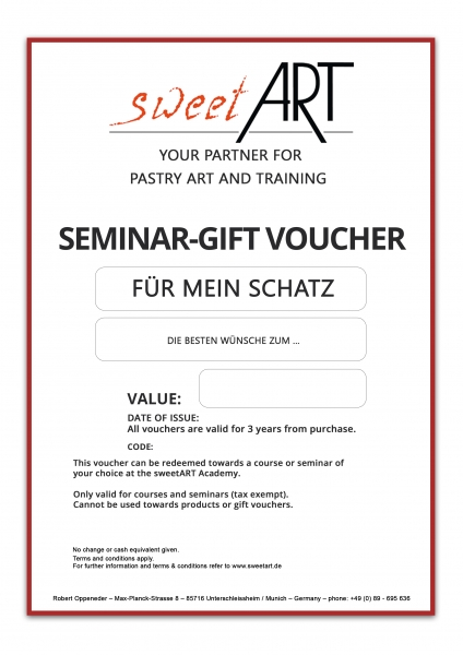 Customize your personal Pastry Seminar gift voucher at sweetART -1
