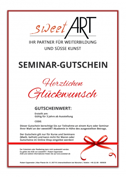 "Pastry seminar gift voucher ""Congratulations"" at sweetART"