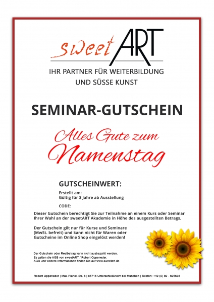 "Pastry seminar gift voucher ""Name Day"" at sweetART"