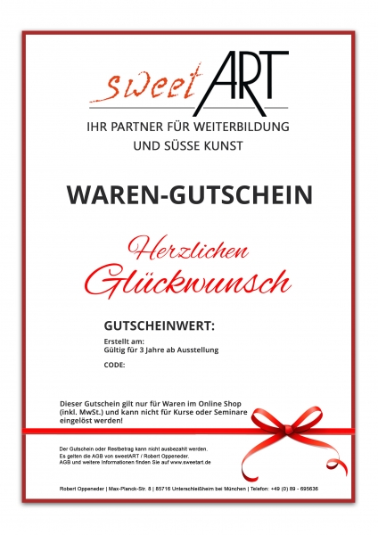"Pastry goods gift vouchers ""Congratulations"" at sweetART"