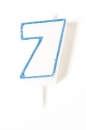 Number Glitter Candle, Blue No. 7
